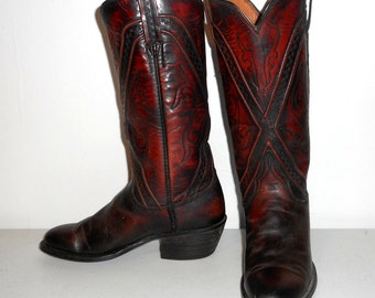 Womens 5.5 B Lucchese Cowboy Boots Vintage Oxblood Boho Western Cowgirl Shoes