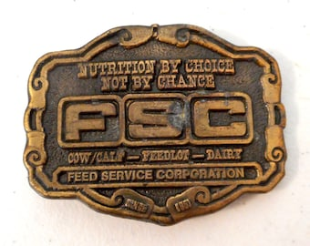 Feed Service Corporation Belt Buckle FSC Cow Dairy Feedlot Farm Ranch Country