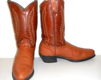 Cowboy Boots Size 11 D Vintage Two Tone Tan Brown Faux Lizard Country Western Shoes