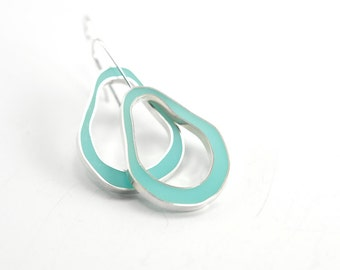 Wobble Earrings in sterling silver and light scuba blue aqua hand colored resin