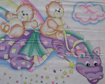 "100% Cotton Fabric Panel roughly 36"" x 45"" Baby Crib Quilt Blanket Wall Hanging Flying Dragon Teddy Bears Purple"