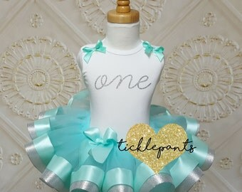 Baby girls 1st Birthday Outfit - One - Aqua teal and silver glitter - Includes top and ruffled tutu - Available in MANY colors