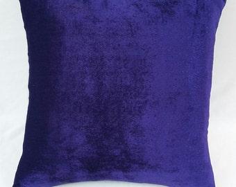 Indigo blue velvet throw pillow, violet velvet pillow, blue velvet throw pillow, velvet cushion, decorative pillow, velvet pillow cover,