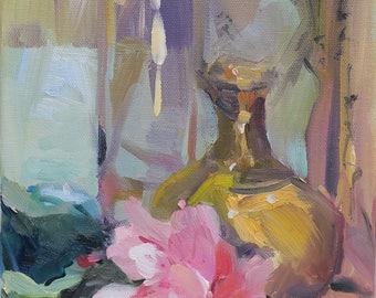 small original impressionistic still life painting - impressionism - pink rose oil painting - oil painting by artist Linda Hunt