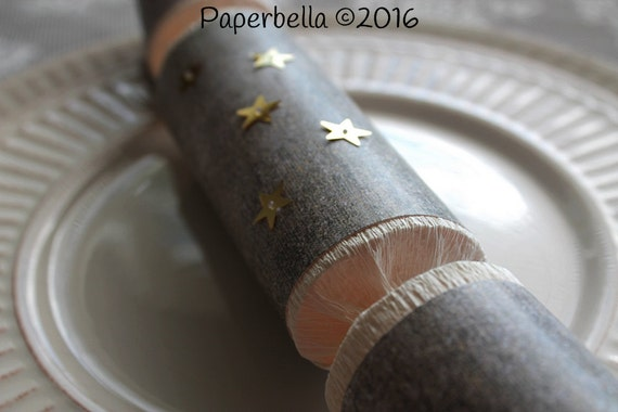 Fill Your Own Party Crackers Birch Wood, Christmas, Star Embellishment Party Popper, Personalize with Your Monogram and a Paper Rosette
