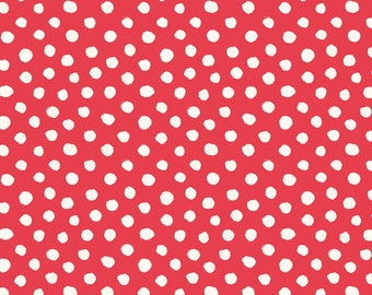 Red Swiss Dot Fabric - Swiss Dot Coral By Crystal Walen - Swiss Dot Cotton Fabric By The Yard With Spoonflower