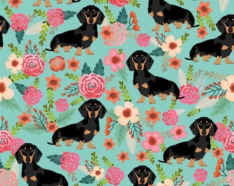 Floral Doxie Dog Dachshund Dachshunds Fabric Cute Flowers Mint Girls Floral By Petfriendly - Cotton Fabric By The Yard With Spoonflower