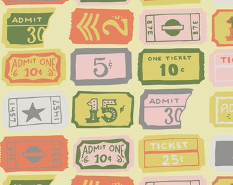 Vintage Tickets Fabric - Tickets - Cotton Candy By Abbyhersey - Vintage Ticket Stubs Pastel Cotton Fabric By The Yard With Spoonflower