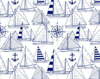 Sailboats Blue Print Fabric - Sailboats - Navy On White By Mirabelleprint - Nautical Baby Boy Cotton Fabric By The Yard With Spoonflower