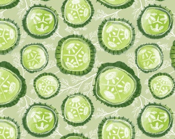 Green Pickle Fabric - Dill Pickles On Sage - Medium By Pinky Wittingslow - Garden Pickles Cotton Fabric By The Yard With Spoonflower