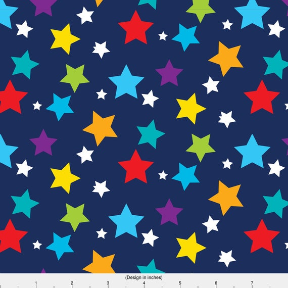 Rainbow stars fabric solar system 04 by prettygrafik for Solar system fleece fabric