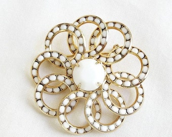 Vintage White Rhinestones Multi Circles Brooch or Pin