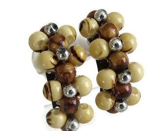 Vintage Earth Tones Art Plastic Beads Beaded Half Hoop Pierced Earrings