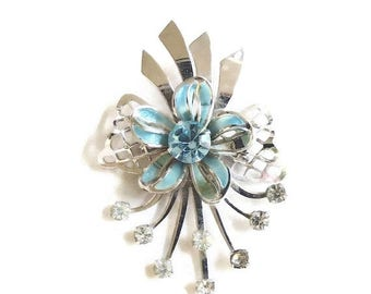 Vintage Mid Century Retro Brooch with Blue Enamel Bow and Blue & Clear Rhinestones