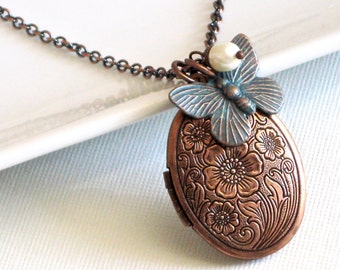 Butterfly Locket Necklace -  Copper Locket, Butterfly Jewelry, Keepsake Jewelry, Oval Locket