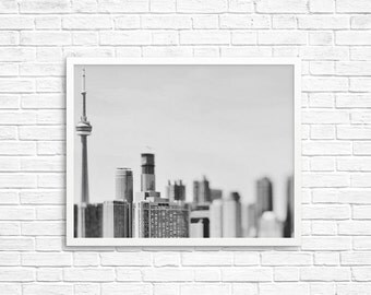 BUY 2 GET 1 FREE Toronto Photography, Toronto Skyline, Black White Photo, Cn Tower, City Skyline, Fine Art Print, Toronto Print, The6ix