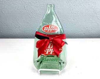 Large Vintage Dr Pepper Bottle Cheese Tray, Upcycled Recycled Melted Bottle by Mitchell Glassworks, Gift Ideas For Men, Vintage Kitchen