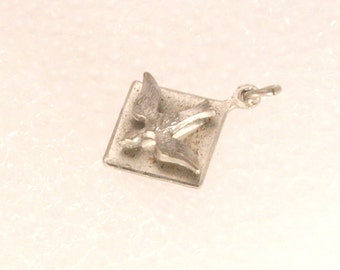 Vintage Silver Bird Charm Carriage Charm Mockingjay Pendant Signed Sterling Chapel