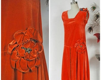 SALE - Vintage 1920s Dress - Exceptional Orange Velvet 20s Flapper Dress with Drop Waist and Large Two Tone Rosettes