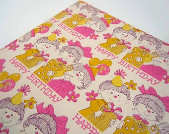Vintage Children's Birthday Wrapping Paper | Yellow and Pink Gift Wrap Paper | Boys and Girls with Presents Wrapping Paper