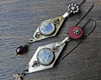 "Handmade artisan earrings with vintage Kuchi and buttons- ""Palingenesis"""
