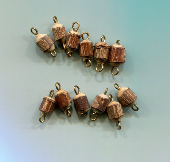 wood tree stump beads links connectors vintage charms drops brown 12 piece wooden bead 15mm long jewelry supplies