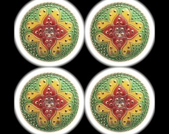 4 Czech Glass Buttons 32mm - 1 1/4 inch Hearts All Over Paisley Tapestry Buttons - Red Yellow Green Glass Buttons - DESTASH LOT SPECiAL