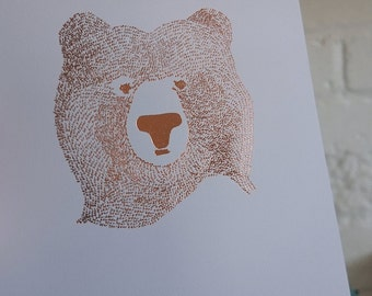 ON SALE! - Copper Foil Bear Of Few Words A4 Print
