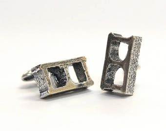 SALE - Silver Cinder Block Cufflinks in Solid White Bronze with Sterling Overlay Cuff Links 334