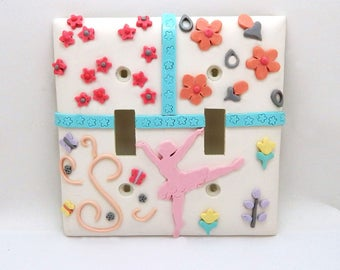 Ballerina,Flowers Double Light Switch Cover - Pink, Turquoise, Peach, Yellow, Gray - Ballerina Themed Room Decor - Toggle or Rocker Cover