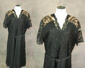 3 Day SALE vintage 40s Lace Dress - 1940s Cocktail Dress Evening Dress - 1940s Black Lace Illusion Dress Sz XL 2XL Xxl