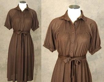 Clearance Sale vintage 70s Dress - 1970s Young Edwardian Boho Brown Smocked Dress Sz S M