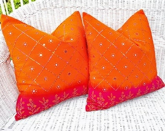 Fuchsia Orange Sari Pillows, Set of 2, Repurposed Luxury Beaded Silk Pillow, Pair of Bohemian Pillows, Unique  Boho Chic Cushion, 20x20