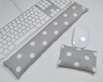 Computer Keyboard Pad and Optional Mouse Wrist Rest Set in Gray Polka Dots - Wrist Support