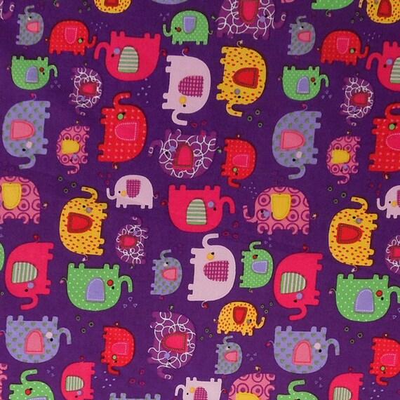 Purple little elephant cotton fabric child 39 s purple for Purple nursery fabric
