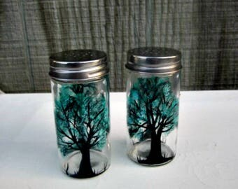Salt and Pepper Shakers, Hand Painted, Black Tree with Teal Leaves, Glass Salt and Pepper Shakers