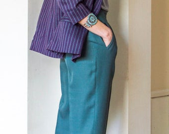 70s wool double breasted pinstripe boating blazer & waistcoat