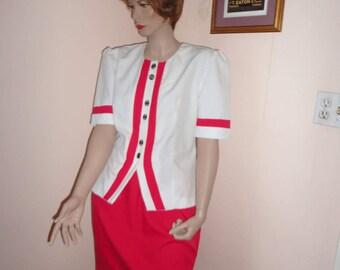 1970's Plus Size Vintage Red/White Skirt Set Sz 16