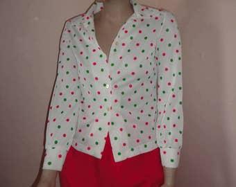 1970's Red/Gren Polka Dot Stretch Knit Blouse Sz Sm Petite