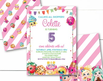 Instant Download - Editable - Shopkins and Shoppies Birthday Party Invitation