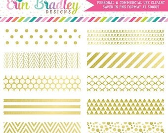 50% OFF SALE White and Gold Digital Washi Tape Clipart Graphics Gold Foil Clip Art Instant Download