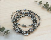 Long Silver Freshwater Pearl and Black Seed Bead Necklace