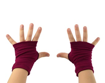 Toddler Arm Warmers in Sangria - Berry Wine Pink - Fingerless Gloves - LAST PAIR