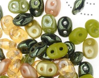 50 Grams 2mm x 5mm Rainforest SuperDuo 2 Hole Czech Seed Beads