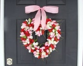 VALENTINES DAY SALE Valentine's Day Wreath Red Tulip Valentines Day Decor Red Hearth Wreath Wedding Decor Spring Wreath I Love You