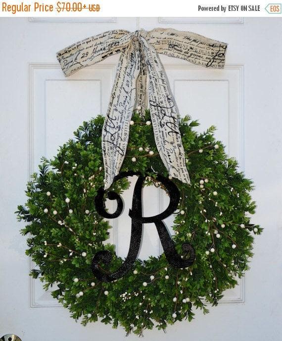 SPRING WREATH SALE Year Round Wreath, Boxwood Wreath, All Seasons Decor, Wedding Decor, Berry Door Wreath, Fall Wreath, Winter Wreath, Cream