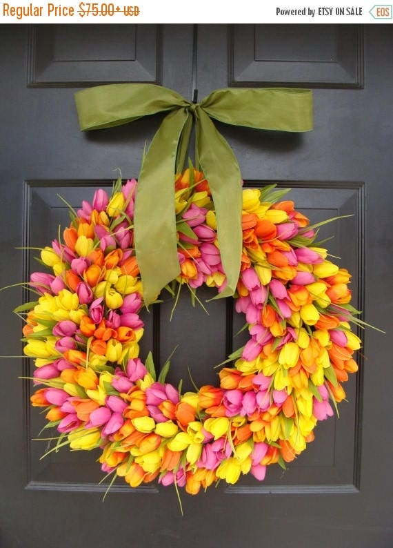 SPRING WREATH SALE Spring Wreaths- Spring Wreath- Tulip Wreath- Gift for Mom-Wreath for Spring- Custom Sizes