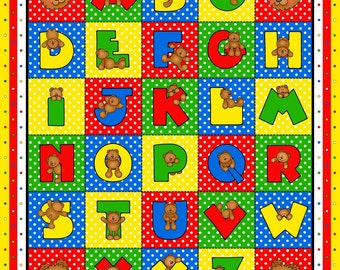 Alphabet Panel, Alpha Bear Cotton Children's Fabric Panel 35 x 44 inches by Henry Glass