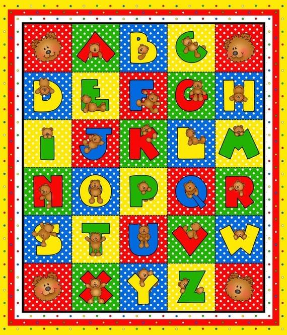 Alphabet panel alpha bear cotton children 39 s fabric panel for Children s fabric panels