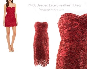 Vintage Red Lace Party Dress Sweetheart Strapless Handmade New Years HOLIDAY Dress Size XS